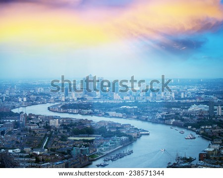 London financial center at sunset. - stock photo