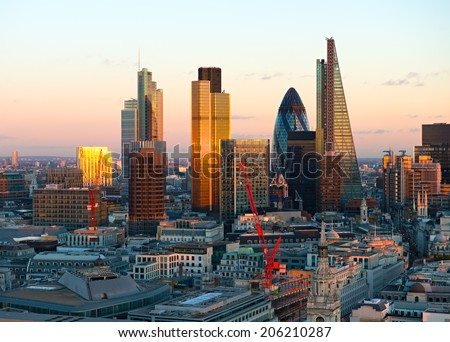London Financial District City Skyline