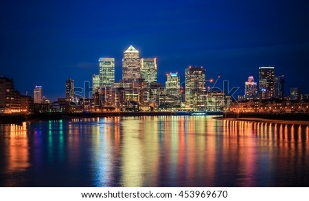 London financial district skyline  at night. - stock photo