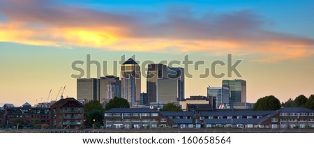 London financial district skyline. Canary Wharf, Uk. - stock photo