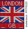 London GB summer holiday concept. A Union Jack flag made from mosaic tiles. Also available in vector format. - stock photo