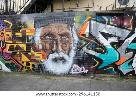 LONDON,GREAT BRITAIN - MAY: Street art on May 30, 2015 in Central London, is a new art trend and growing in popularity through art tours.  - stock photo