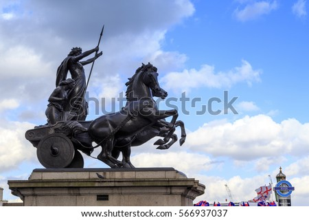 LONDON, GREAT BRITAIN - MAY 9, 2014: This is monument to Queen Boudicca - the leader of the Celts, the fallen in the defense of London in '61.