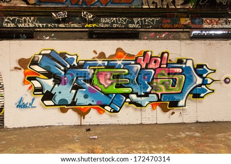 LONDON, GREAT BRITAIN - 18th of January 2014: Graffiti on the Leake Street on 18th of January 2014 in LONDON, GREAT BRITAIN - stock photo