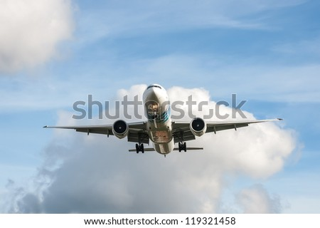 LONDON, HEATHROW, UK - OCTOBER 30: Boeing 777 operated by EgyptAir, a member of the Star Alliance global network of airlines that fly routes to London Heathrow Airport, UK - October 30, 2012 - stock photo