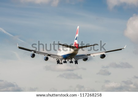 LONDON, HEATHROW, UK - OCTOBER 30: British Airways Boeing 747 on landing approach to the third busiest airport in the world - London Heathrow Airport, UK on October 30, 2012 - stock photo