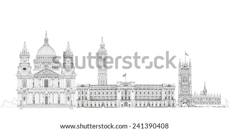 London iconic buildings. Big Ben, St. Paul cathedral, Westminster Parliament tower. Sketch collection - stock photo