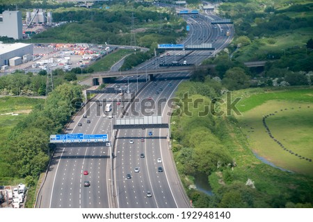 London. Interstate as seen from the plane. - stock photo