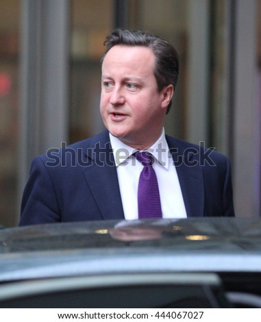 LONDON - JAN  27, 2014: David Cameron, Prime Minister of the United Kingdom seen leaving 10 Downing street on Jan 27, 2014 in London
