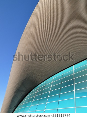 LONDON - JANUARY 24. Detail of the Aquatics Centre, now a public swimming facility designed by Zaha Hadid Architects and open to swimmers of all abilities; January 24, 2015 at Stratford, London. - stock photo