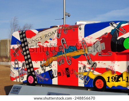 LONDON - JANUARY 24. London celebrates the importance of its buses with decorative painted bus models on final display January 24, 2015; this one by Valerie Osment at Stratford, east London. - stock photo