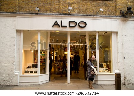 LONDON - JANUARY 22nd: The exterior of Aldo on January the 22nd, 2015, in London, England, UK. Aldo is high street clothing store