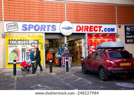 LONDON - JANUARY 23rd: The exterior of sports direct on January the 23rd, 2015, in London, England, UK. ports direct operates 270 stores in Europe.  - stock photo