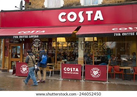 LONDON - JANUARY 21: The exterior of a Costa coffee shop on January the 21st, 2015, in London, England, UK. Costa employs 10 000 staff across 29 countries.  - stock photo