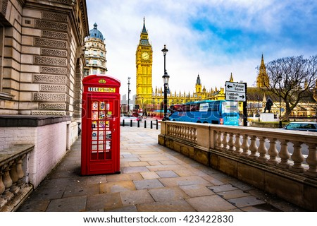 LONDON - JANUARY 10 : View of Big Ben, the Palace of Westminster and a red phone box, icons of England, capital of UK, Europe. LONDON - JANUARY 10 Th, UK.
