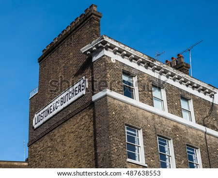 London, January 23, 2016: Vintage Lidstone and Co Butchers sign on the side of a building South Kensington, London.