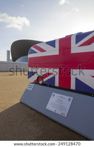 LONDON - JANUARY 24. Year of the Bus exhibition with 60 decorative bus models, January 24, 2015; this one named Union Jack located at Queen Elizabeth Olympic Park, London, UK. - stock photo