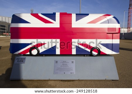 LONDON - JANUARY 24. Year of the Bus exhibition with 60 decorative bus models, January 24, 2015; this one named Union Jack located at Queen Elizabeth Olympic Park, London, UK - stock photo