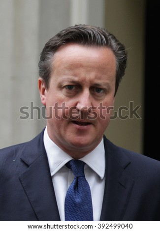 LONDON - JUL 14, 2015: David Cameron British Prime Minister seen leaving Downing Street on Jul 14, 2015 in London - stock photo