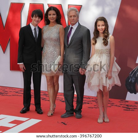 LONDON - JUL 8,  2015: Dylan Michael Douglas, Catherine Zeta-Jones, Michael Douglas and Carys Zeta-Douglas attend the Ant-Man - European premiere at the Odeon Leicester Square on Jul 8, 2015 in London