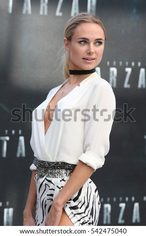 LONDON - JUL 05, 2016: Kimberley Garner attends the European premiere of The Legend Of Tarzan at Odeon Leicester Square on Jul 5, 2016 in London