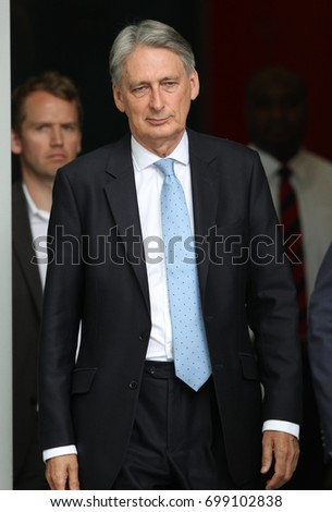 LONDON - JUL 16, 2017: Philip Hammond Chancellor of the Exchequer attends the BBC Andrew Marr Show at the BBC Studios in London