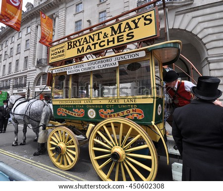 LONDON - JULY 3, 2016. A preserved vintage horse drawn double deck bus on show at the one day traffic free Transport by Design Festival in Regent Street, central London, UK.