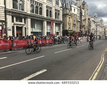 LONDON, JULY 30, 2017 : Action taken during Prudential Ride London Freecycle event in London, United Kingdom that took over the weekens 29 and 30 July 2017