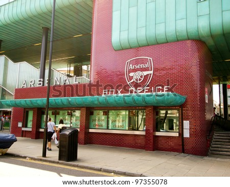 LONDON - JULY 24: Arsenal Football Club Box Office at Emirates Stadium, London on  July 24, 2011. The Arsenal North Bridge Box Office is beside the All Arsenal shop on Drayton Park. - stock photo