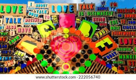 LONDON - JULY 1, 2014. Detail from the Temple of Agape by Morag Myerscough and Luke Morgan. The temple celebrates the power of love to conquer hate and it is part of the Festival of Love in London.