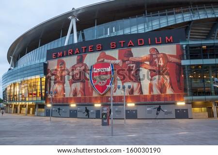 LONDON � JULY 31: Emirates Stadium on July 31, 2013. Ashburton Grove, known for sponsorship reasons as the Emirates Stadium or simply The Emirates, is the home of Arsenal. - stock photo