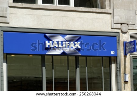 LONDON-JULY 1: Halifax bank on July 1, 2014 in London, UK. Halifax is a banking chain in the United Kingdom and a division of Bank of Scotland. Halifax is part of Lloyds Banking Group. - stock photo