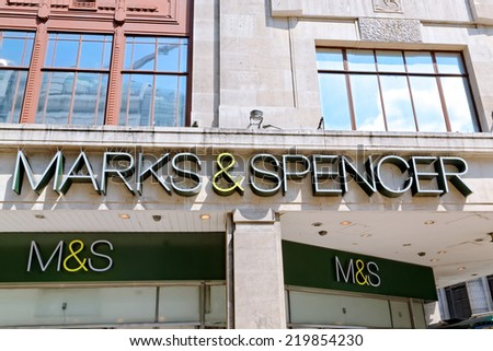 LONDON JULY 1, 2014: Inscription of an Oxford street branch of MARK & SPENSER. The Group made profit before tax of £280.6m in the 6 months ended September 2013 (last year 280.0m).