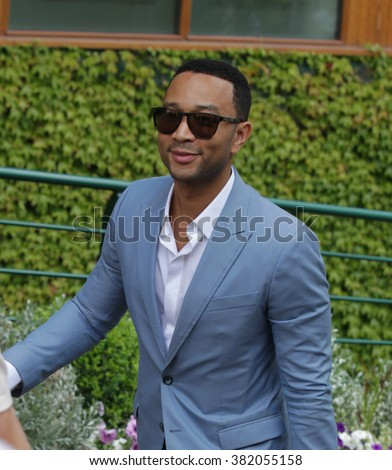 LONDON - JULY  6, 2015: John Legend seen at the Wimbledon Championships on Jul 6, 2015 in London - stock photo