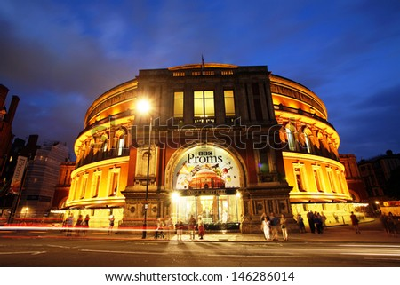 LONDON - JULY 14 : Night view of Royal Albert Hall during the BBC Proms, annual events, summer season daily classical music concerts in Royal Albert Hall for 8 weeks, on July 14, 2013, London, UK.   - stock photo