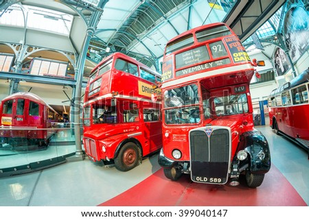 LONDON - JULY 2, 2015: Old double decker buses at transportation museum. These buses are now replaced by the new ones