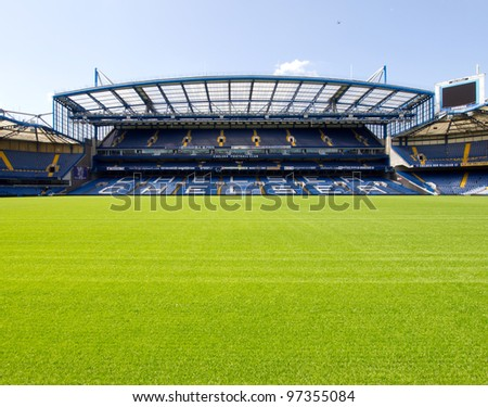 LONDON - JULY 24: On a non-match day at the Chelsea FC Stamford Bridge Stadium on July 24, 2011. The West Stand consists of the Great Hall and the executive boxes known as the Millennium Suites. - stock photo