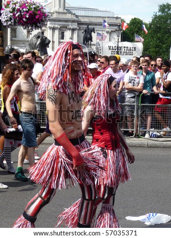 LONDON - JULY 3: Participants in Gay Pride Parade Day on July 3, 2010 in Central London, England.