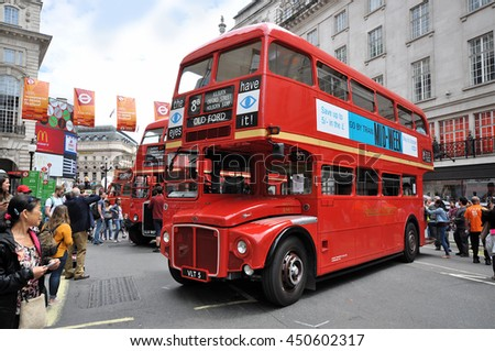 LONDON - JULY 3, 2016. Preserved obsolete double deck buses on show at the one day Transport by Design Festival in Regent Street, central London, UK.