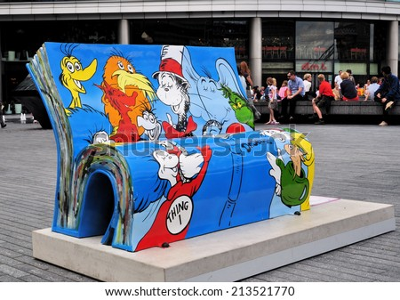 LONDON - JULY 5. The Dr Seuss BookBench sculpture; one of 50 seats celebrating London's literary heritage with famous book titles and authors on July 5, 2014 located across London. - stock photo