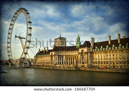 LONDON, July 28: The London eye on July 28, 2013 in London, England.  - stock photo