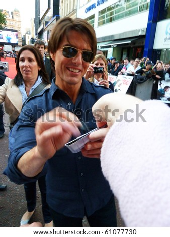 LONDON - JULY 22: Tom Cruise at the Knight And Day Premiere July 22, 2010 in Leicester Square London, England. - stock photo