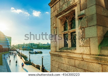 LONDON - JULY 06:  View from tower bridge over river Thames promenade and British architecture on a sunny day on July 06, 2016 in London