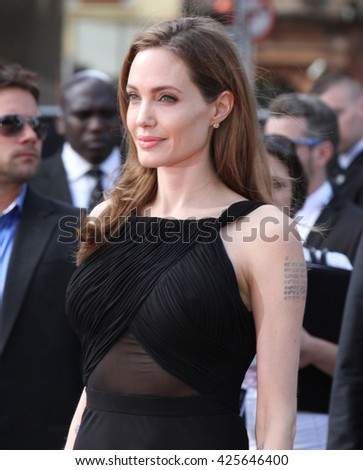 LONDON - JUN 2, 2013: Angelina Jolie attends the World War Z world premiere at the Empire Leicester Square on Jun 2, 2013 in London - stock photo