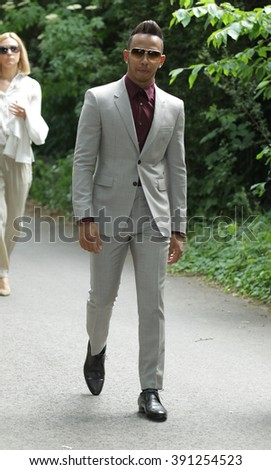 LONDON - JUN 15, 2015: Lewis Hamilton attends the Burberry Prorsum fashion show, London Collections: Men, Spring Summer on Jun 15, 2015 in London