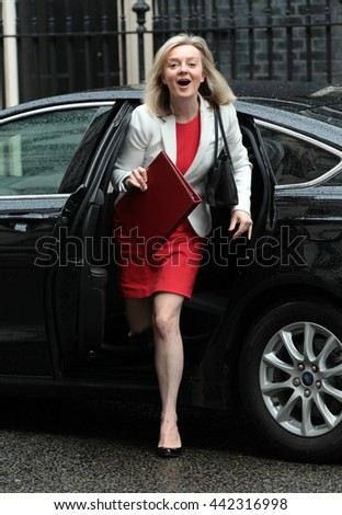 LONDON - JUN 14, 2016: Liz Truss arriving in Downing Street for the weekly cabinet meeting on Jun 14, 2016 in London