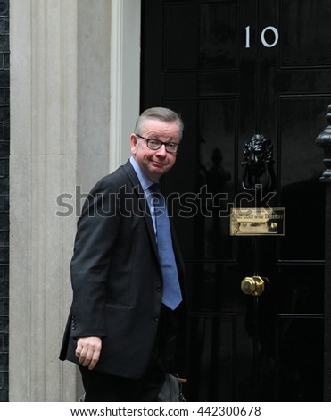 LONDON - JUN 14, 2016: Michael Gove MP arriving in Downing Street for the weekly cabinet meeting on Jun 14, 2016 in London