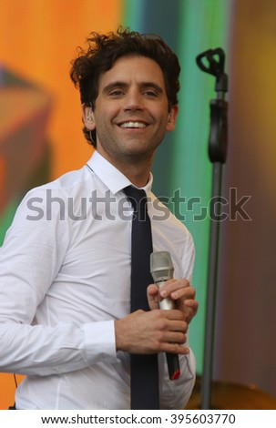 LONDON - JUN 21, 2015: MIKA on stage at the British Summer Time concert Hyde Park on Jun 21, 2015 in London  - stock photo