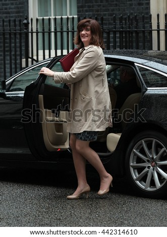 LONDON - JUN 14, 2016: Nicky Morgan MP,  arriving in Downing Street for the weekly cabinet meeting on Jun 14, 2016 in London