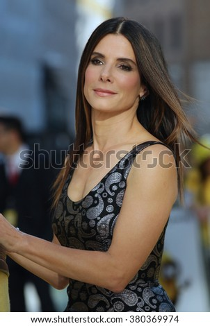 LONDON - JUN 11, 2015: Sandra Bullock attends the Minions - World premiere at the Odeon Leicester Square on Jun 11, 2015 in London